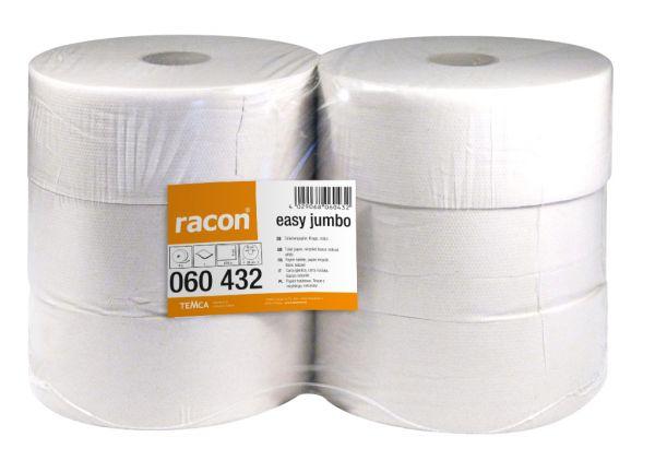 Racon easy Jumbo Toilettenpapier, 1-lg, krepp, naturweiß, 6 x 470m