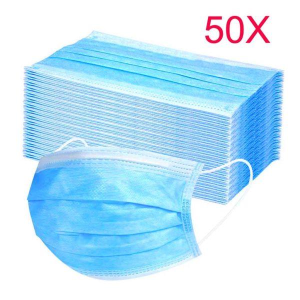 Mundschutz Maske blau 3-lagig 50er Pack