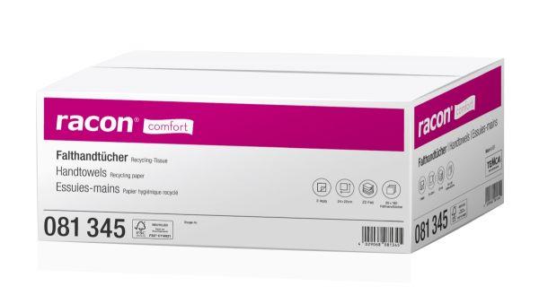 Racon comfort Falthandtücher, ZZ-Falz, 24 x 23cm, 2-lagig, weiß, 3200 Stück