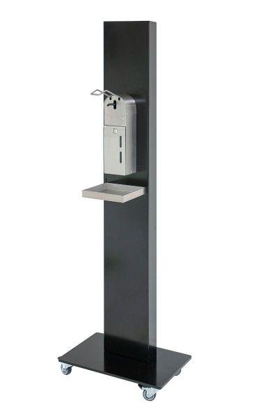 Hand-Desinfektions Hygieneäule HDS-4 schwarz - mobil fahrbar