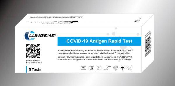 CLUNGENE Laien-Test COVID-19 (SARS-Cov-19) Antigen Schnelltest - 5er Pack