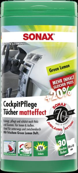 SONAX CockpitPflegeTücher Matteffect Green Lemon Box 25 Stk.