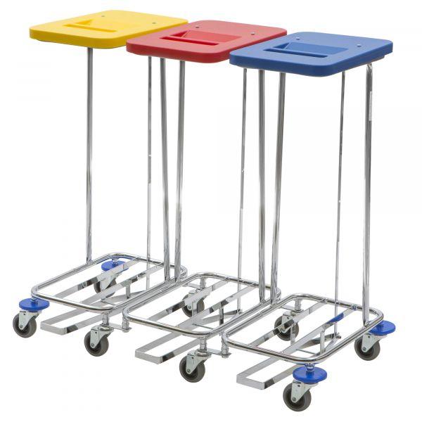 Vermop Meditrans Wäschesammler dreifach mit 3 Deckeln und Pedal