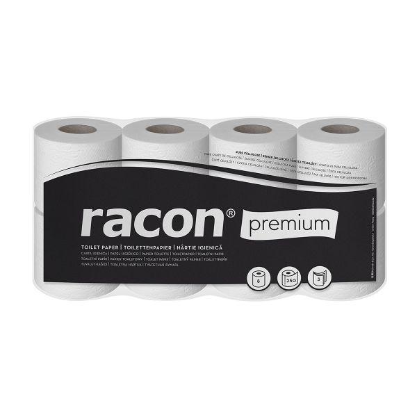 Racon premium Toilettenpapier Kleinrollen 3-lg, Zellstoff, hochweiß, 250 Blatt, 8 Rollen