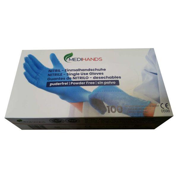 MediHands medizinische Nitril Untersuchungshandschuhe blau KAT III