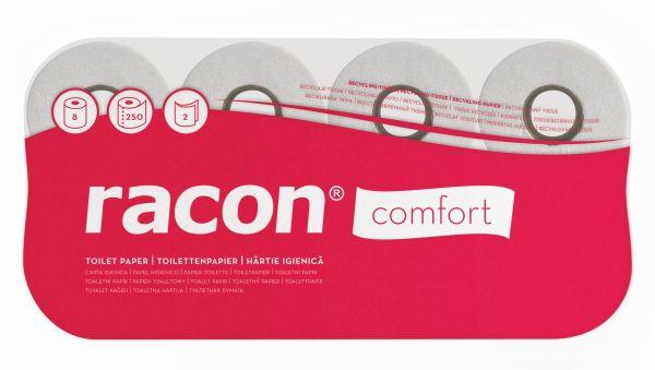 Racon comfort Toilettenpapier Kleinrollen 2-lg, Zellstoff, natur, 250 Blatt, 8 Rollen