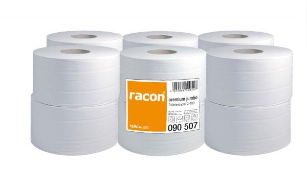 Racon premium Jumbo Toilettenpapier, 2-lg, Zellstoff, hochweiß, 12 x 180m